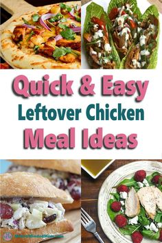 Looking for quick and easy meal ideas? Well, if you've got leftover chicken sitting in your fridge then you're in luck. There are so many delicious chicken recipes you can make with pre-cooked or leftover chicken you can add to your meal plan. These 15-minute meal ideas are perfect when you need to get dinner on the table fast or whip up an easy lunch and are so good your family will love them!! Leftover Chicken Recipes, Yummy Chicken Recipes, Yum Yum Chicken, Frugal Meals, Cheap Meals, Quick Easy Meals, Pre Cooked Chicken, How To Cook Chicken, Raspberry Chicken