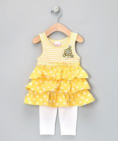 Love this Nannette Yellow Ruffle Tunic & Leggings - Toddler by Nannette on #zulily! #zulilyfinds