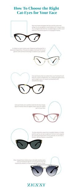 How to choose the right cat-eye glasses for your face shape. glasses for your face shape Cat-Eye Glasses for Your Face Shape Frames For Round Faces, Glasses For Oval Faces, Glasses For Your Face Shape, Glasses Frames, Diamond Face Shape, Oval Face Shapes, Cat Eye Frames, Cat Eye Glasses, Cool Eyes