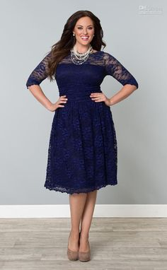 Wholesale New Arrival Lace Plus Size A-Line Crew 3/4 Long Sleeves Knee-Length Party Prom Bridesmaid Dresses, Free shipping, $83.67/Piece | DHgate Mobile