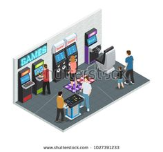 Stock Photo: Isometric isolated and colored game club interior concept with playing people in one room illustration