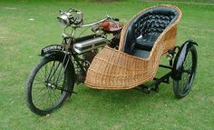 1915 Triumph Motorcycle with Wicker Sidecar