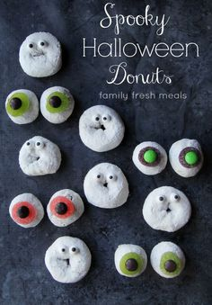 Spooky Fun Halloween Donuts - - FamilyFreshMeals.com - Fun for Halloween Breakfast, Dessert or an edible classroom project.
