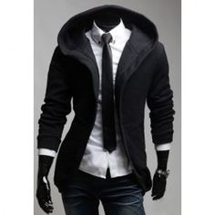 $12.73 Casual Style Simple Solid Color Zipper Hooded Coat For Men