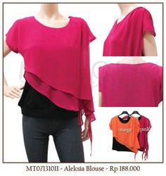 #MINEOLA Aleksia blouse pink. Also available in orange color. Rp.188.000,- Bust: 82cm - Length: 61cm - Shoulder: 62cm  Fabrics: chiffon + cotton Product code: MT07131011