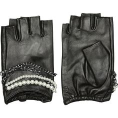 Karl Lagerfeld Fingerless Leather Gloves (€111) ❤ liked on Polyvore featuring accessories, gloves, black, karl lagerfeld, leather gloves, fingerless leather gloves, karl lagerfeld gloves and chain gloves