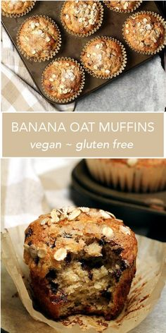 Vegan Gluten Free Vegan Gluten Free BANANA OAT MUFFINS - loaded with banana maple vanilla and of course chocolate these muffins make for a perfectly delicious breakfast or afternoon snack. Vegan Banana Muffins, Gluten Free Banana, Banana Oats, Vegan Muffins Gluten Free, Chocolate Muffins, Healthy Afternoon Snacks, Healthy Vegan Snacks, Vegan Breakfast Recipes, Vegan Breakfast Muffins