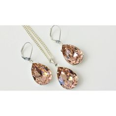 Swarovski Vintage Rose Jewelry Bridesmaids Jewelry Set Wedding Crystal... ($43) ❤ liked on Polyvore featuring jewelry, gold jewellery, gold jewelry set, rose jewellery, vintage crystal jewelry and teardrop jewelry
