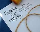 Custom Calligraphy Address Stamp -- Mixed Calligraphy and type - Saison Paris Style modern. $44.50, via Etsy.