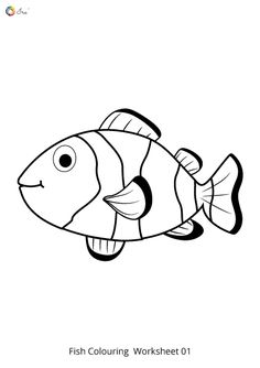 Free Downloadable Fish Worksheets for Kids. Fish Coloring Page, Colouring Pages, Coloring Sheets, Free Printable Worksheets, Preschool Worksheets, Free Printables, Animal Pictures For Kids, Bible Images, Numbers Preschool
