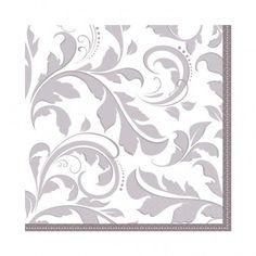 Silver Anniversary Wishes Striped 25th Wedding Party Paper Luncheon Napkins