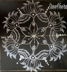 Sreelakshmi's rangoli Rangoli Border Designs, Small Rangoli Design, Rangoli Designs Images, Beautiful Rangoli Designs, Indian Rangoli, Kolam Rangoli, Flower Rangoli, Simple Rangoli, Rangoli Borders