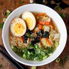 Quick, easy, and healthy Miso Ramen. Another winner! I used fresh ramen and topped it off with Japanese rice seasoning and Kai and I gobbled it all up!