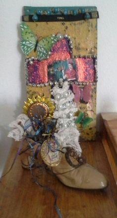 Zapatista Frida Khalo  boho mixed media cross crosses  gypsie mexican art decor gallery wall art decor ezln steampunk  shoe  antique mixed  media  rusted rusty nails  lace wire