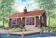 House Plan 64950 | Cabin    Plan with 874 Sq. Ft., 2 Bedrooms, 1 Bathrooms