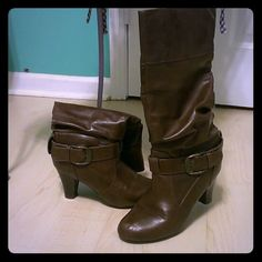 Brown boots Brown dress boot with ankle buckle and 2 inch heel. perlue Shoes Heeled Boots