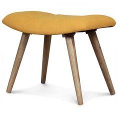 Ravissant petit tabouret design de style scandinave. Les pieds sont en bois massif et sont agrémentés d'une assise dans un tissu jaune moutarde.Ce tabouret est également idéal en repose pieds pour compléter notre fauteuil design style scandinave NORKdans
