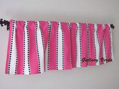 Pink Stripe Valance by GallaryVerde Chevron Valance, Valance Curtains, Custom Valances, Etsy Fabric, Valance Window Treatments, Window Sizes, Pink Stripes, Rod Pocket, Bold Colors