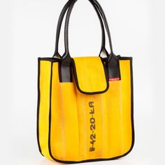 Tote bag - upcycled yellow fire hose