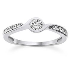 1/3 Ct Round Cut VVS1 925 Platinum Plated Swirl Engagement Ring by JewelryHub on Opensky