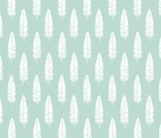 tribal_baby_feathers_white_on_mint fabric by juneblossom on Spoonflower - custom fabric