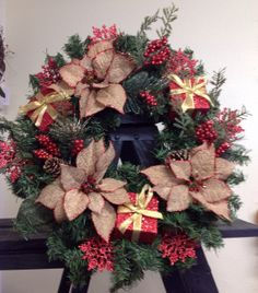 Christmas wreath by TammysFlowersandmore on Etsy, $45.00
