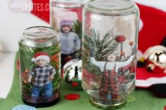 This fun & easy project can be done with supplies you probably already have! Create a winter wonderland, & even place a photo inside these DIY Snow Globes!