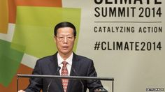 UN climate change summit: China pledges emissions cuts Chinese Vice Premier Zhang Gaoli speaks at the United Nations Climate Summit in New York City, 23 September 2014
