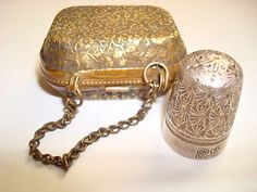 Antique Sterling Silver Horner Thimble, Brass Etui Case; circa 1900