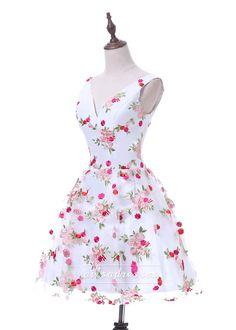 Romantic Floral Print Sexy V Neck Short Mini 2017 Homecoming Dress For 8th Grade [A-003] - $99.00 : Prom Dresses 2017,Wedding Dresses & Gowns On Sale,Buy Homecoming Dresses From Ailsadresses.com