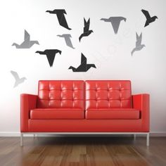 Origami Birds Wall Decals over the couch