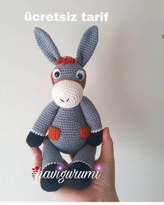 Amigurumi Donkey (Eşek) Yapılışı – Free Crochet Pattern – My Pin Crochet Bear, Crochet Animals, Crochet Toys, Free Crochet, Fox Pattern, Crochet Doll Pattern, Crochet Patterns Amigurumi, Animal Knitting Patterns, Crochet Disney