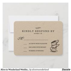 Alice In Wonderland Wedding, Toned Paper, Wedding Rsvp, Response Cards, Earth Tones, Adulting, Create Yourself, Place Card Holders, Romantic
