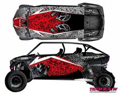 1000 4 Door is for a Polaris 1000 4 door. It come With the hood and fenders it you like you can add the doors and complete the look. give your rzr a new look with this custom graphic kit. Polaris Utv, Polaris Rzr Xp 1000, Rzr 1000, Quad, Buggy, Atv, Baby Strollers, Things To Come, Doors