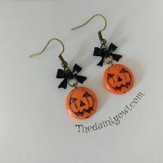 Pumpkin Earrings Pumpkin Jewelry Jack O Lantern Earrings Gothic Earrings, Bow Earrings, Cluster Earrings, Clay Earrings, Clay Jewelry, Beaded Earrings, Beaded Jewelry, Jewellery, Halloween Jewelry