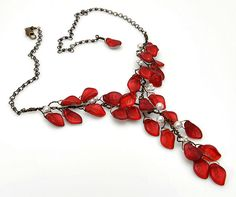 Red Statement Necklace Red and White by CherylParrottJewelry, $84.95