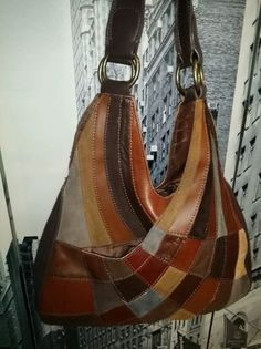 WILSONS-LEATHER-Brown-Multicolor-Patchwork-Hobo-Bucket-Tote-Purse-Bag-Boho