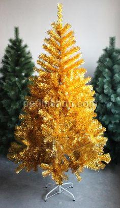 PVC Kunststoff Weihnachtsbaum, mit Eisen, Spritzlackierung, Goldfarbe, 150x85cm, verkauft von Stück - perlinshop.com