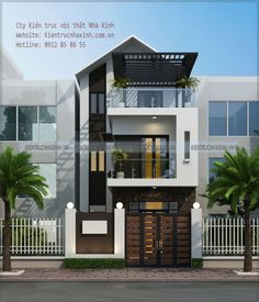 white pillars in wall blends in with the front elevation of the house Flat House Design, Minimal House Design, Narrow House Designs, Latest House Designs, House Front Design, Mountain Dream Homes, Modern Bungalow House, Townhouse Designs, Dream House Exterior