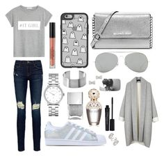"""""""Grey and silver"""" by livynolan ❤ liked on Polyvore featuring Topshop, MANGO, Frame Denim, adidas Originals, MICHAEL Michael Kors, Acne Studios, Casetify, Marc by Marc Jacobs, Stila and Marc Jacobs"""