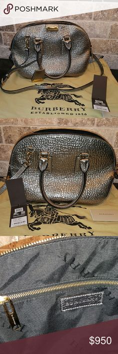 Burberry metallic Heritage Sm Orchard Bowling Bag Gently used gorgeous metallic silver with gold toned Hardware. Liner in great condition without odor. Comes with tags and dust bag. No low ballers or trades, please. Burberry Bags Satchels