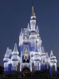 Disneyland : Christmas : beautiful castle : lights