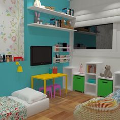 Hoje vamos mostrar esse projeto de um quarto para duas gêmeas lindas! Usando a filosofia montessoriana, as caminhas ficarão no chão para facilitar e estimular o desenvolvimento das meninas. A estante também é baixa para que elas tenham fácil acesso aos brinquedos. Além disso, abusamos das cores para deixar o ambiente ainda mais alegre. Nós amamos, e você?  #projeto #quarto #meninas #gêmeas #arquitetura #arte #decoração #decor #amor #alegria #montessoriano #criatividade #cores