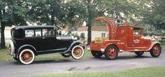 old tow truck an car