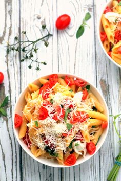 A simple 15 minute pasta dish! Served warm, this makes a wonderful weeknight vegetarian dinner. It's also great cold, for potlucks and BBQs.