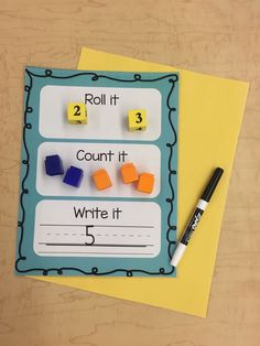 Kindergarten Math Centers Roll the dice and use cubes, erasers, or snacks to count and practice combinations. p Kindergarten Math Centers Roll the dice and use cubes erasers or snacks to count and practice combinations p Kindergarten Math Activities, Homeschool Math, Fun Math, Teaching Math, Hands On Learning Kindergarten, Homeschooling, Montessori Preschool, Montessori Elementary, Math Art