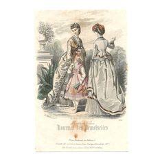 Hand Colored French Lithographic Print: Mode de Paris, La Mode Illustrée, Haute-Couture, Fashion Period Dress, Parisian Women