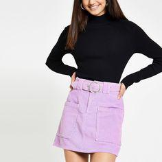 Purple belted cord mini skirt