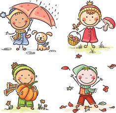 Outono crianças - ilustração de arte vetorial