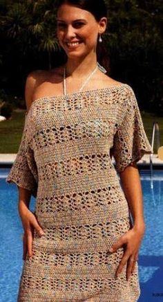Fabulous Crochet a Little Black Crochet Dress Ideas. Georgeous Crochet a Little Black Crochet Dress Ideas. Crochet Short Dresses, Crochet Bodycon Dresses, Black Crochet Dress, Crochet Skirts, Crochet Clothes, Crochet Top, Short Sleeve Dresses, Free Crochet, Russian Pattern